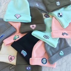 Slouchy Knit Beanie with Embroidered Patch Your Choice of Patch & Hat Color! Cute Beanies, Cute Hats, Pink Beanies, Teen Fashion Outfits, Mode Outfits, Fashion Fashion, Slouchy Beanie, Beanie Hats, Snapback Hats