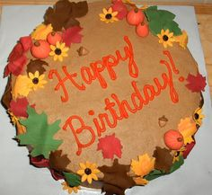 gum paste fall leaves and pumpkins | Special fall birthday cake - gumpaste pumpkins, acorns, sunflowers ...