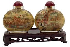 Hand-Painted Snuff Bottles & Stand, S/3 $365 ~~~SOLD~~~