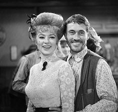 """Amanda Blake as Kitty Russell and Ken Curtis as Festus Haggen on the GUNSMOKE episode, """"Double Entry."""" Image dated October Get premium, high resolution news photos at Getty Images"""