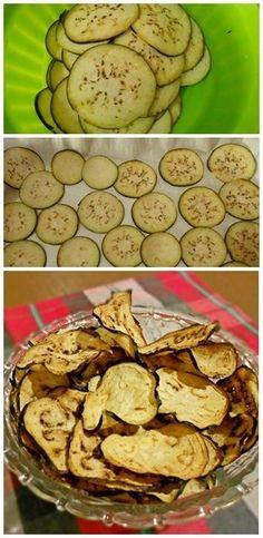 Você tem que experimentar esses chips de berinjela que são uma delícia! #receitas #berinjela #chips