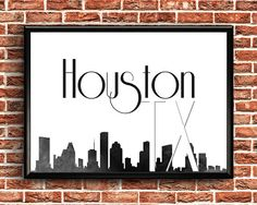 Items similar to Houston Print Printable Maps, Printable Wall Art, Texas Wall Art, Texas Forever, Roommates, Houston, Skyline, Art Prints, Wood