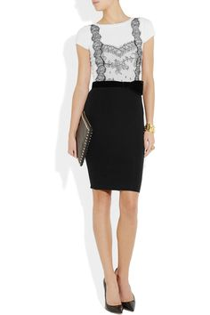Valentino|Lace-trimmed wool and cashmere-blend dress|NET-A-PORTER.COM
