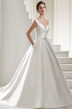 Romantic Satin V-neck Neckline Natural Waistline A-Line Wedding Dress With Belt & Pockets