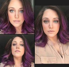 Brunette purple ombré hair, perhaps after academy. Purple Hair, Purple Ombre, Multicolored Hair, Hair Color And Cut, Hair Dye Colors, Dye My Hair, Brunette Hair, Great Hair, Hair Today