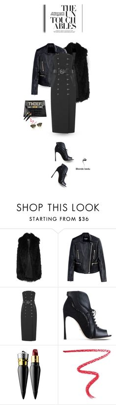 """""""What she tackles, she conquers"""" by blonde-bedu ❤ liked on Polyvore featuring DKNY, Balmain, Thierry Mugler, Sergio Rossi, Christian Louboutin, By Terry and Christian Dior"""