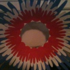 Fourth of July wreath using my kids hands! Oldest, middle, youngest. Could also do whole family!  It was super cute!