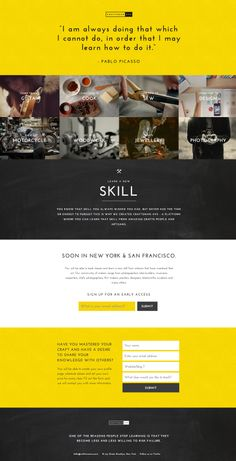 "So many e-learning sites coming online! Here is another ""soon to be launched"" using flat web design and a yellow and black palette. http://www.craftsmanave.com/"
