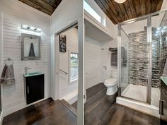 Alabama Tiny Homes, The Freedom model, tiny house on wheels. I'm confused as to how this bathroom can be so big, but how fabulous is it? tiny house on wheels Tiny House Layout, Small Tiny House, Tiny House Living, Tiny House Plans, Tiny House Design, Tiny House On Wheels, House Layouts, Small Houses, Small Living