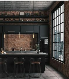Industrial Farmhouse Design For Your Home Improvement 33 The Coolest Trend in 2019 Kitchen Interior Industrial Kitchen Design, Industrial Interiors, Interior Design Living Room, Industrial Decorating, Industrial Style Kitchen, Loft Interiors, Industrial Loft, Modern Industrial Decor, Industrial Windows