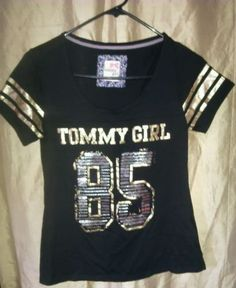 Tommy Girl Size M Black Gold 85 Top T Shirt in Clothing, Shoes & Accessories   eBay