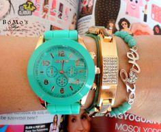 Mint silicone Geneva watch  green leather bracelet
