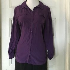 """Button down soft shirt Collared button down """"soft shirt"""" never worn just tried it on a few times. Breast pockets on both sides with flap closures. Pleated back. Side slits at hem. No stains, tears, pulls or other damage. Lane Bryant Tops Button Down Shirts"""