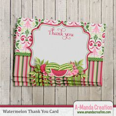 Watermelon Party Printable Thank You Card, gorgeous thank you card to coordinate with your watermelon party