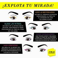 [#InfografiaARIUM] Mira cual es el tipo de delineado ideal para tus ojos.   ¡Explota tu mirada!