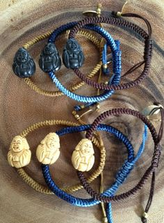 Macrame Bracelets with Original (c) Buddha, all hand carved for Jennifer Stock Designs in fine Boxwood.  Ends are finished with 6mm Boxwood beads. Available in Signature Blue Tie Dye for Men, Women and children.