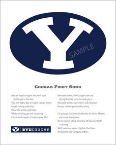 BYU Fight Song Print 11x14 by HouseOfRouse on Etsy