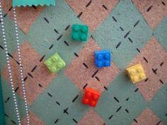 Lego Thumb Tacks @Tara Harmon Harmon M. Jenkins Designs  Going to make magnets for Chris's whiteboard
