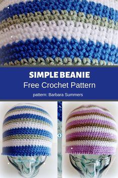Simple Beanie | MyCrochetPattern Crochet Hook Sizes, Crochet Hooks, Free Crochet, Crochet Flower Patterns, Crochet Flowers, Crochet Symbols, Beanie Pattern, Yarn Brands, Yarn Needle