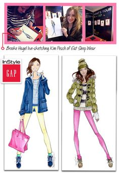 Brooke Hagel @Gap Fashion Illustrations for @InStyle Party