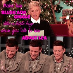 Cory Monteith who plays Finn Hudson on the popular show Glee to be on Ellen today 12/06/2012 . Be sure and watch today. Watch Sneak Peek where he confesses that he and Lea Michele(Rachel) are truly a couple and watch Cory blush. It is truly precious!!!