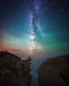 The Milky Way gliding over Cape Kiwanda, Oregon | Photography by @shainblumphotography
