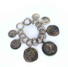 Vintage Coin Charm Bracelet by VintageCharacter on Etsy