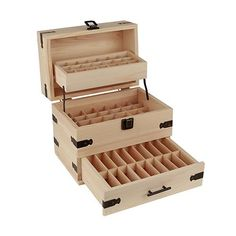 SXC Essential Oil Wooden Box Organizer Wood Storage Case Holds and Protects 68 Oils, Holds 56 5-15 mL Bottles and 12-10 mL Roller Bottles for Travel and Presentations, Large