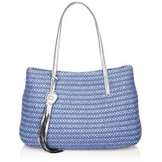 Eric Javits Dame Brooke Woven Straw & Textile Tote ($350) ❤ liked on Polyvore featuring bags, handbags, tote bags, man bag, straw handbags, blue purse, zip top tote bags and straw hand bags