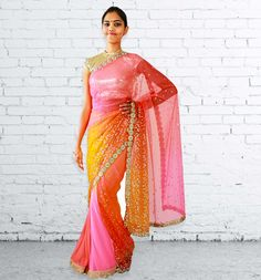 Pink and Orange Glitter Sari from Atelier By Ashika D'Souza