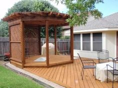 Pergola covered gazebo over patio deck Diy Pergola, Deck With Pergola, Diy Deck, Pergola Shade, Pergola Ideas, Pergola Kits, Corner Pergola, Deck Patio, Outdoor Ideas