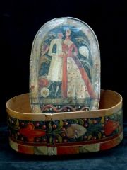 Brides Box.late 18th to early 19th century box is what is commonly called a bride's box and more correctly called a spanschachteln.  Schachteln means boxes and span means wood shavings.  These beautiful oval, paint decorated boxes were made in Germany, Austria and Switzerland in the 18th and 19th centuries and often brought to America by European immigrants.  These boxes were often given as a bridal gift but they were also served for storage of wigs, hats, Christening gowns, documents