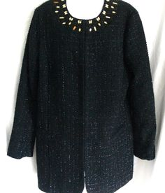 Chico's Ani-Glam Meo Tweed Jacket Jeweled Coat Size 2  (12 L) #Chicos #Jacketcoat #Evening