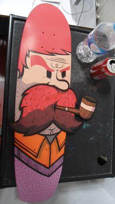 Beard man skateboard