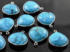 Natural Blue Turquoise Bezel Heart Shape Gemstone by Beadspoint, $7.99