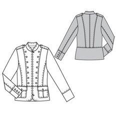 Burdastyle hikaru jacket - technical drawing