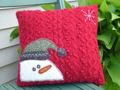 Cute pillows made from old wool sweaters. Snowman pillow is 12 X 12 and the Bird pillow is 12X14