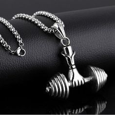 Show your gym pride with this beautiful unisex Stainless steel dumbbell necklace. It comes in sizes big or small in gold plated or stainless steel versions. Necklace Chain Lengths, Necklace Types, Men Necklace, Pendant Necklace, Couple Necklaces, Trendy Necklaces, Mens Sterling Silver Necklace, Stainless Steel Necklace, Tankini Top