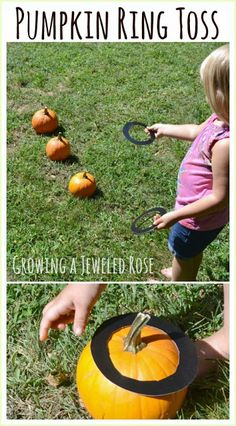 Here's a fun fall activity: Put those pumpkins to good use with a pumpkin ring toss!