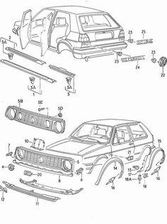 Golf parts - automobil Volkswagen Golf Mk2, Vw Mk1, Jetta Mk1, Vw Passat, Gti Vr6, Vw Parts, Diy Car, Cars And Motorcycles, Golf Clubs