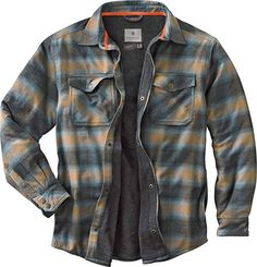 Our Flannel Shirt Jacket is made of cotton yarn-dyed plaid, a cotton/poly blend thermal lining, smooth lined quilted sleeves and insulation for extra warmth. Fleece Lined Flannel Shirt, Mens Flannel, Shirt Jacket, Sweater Hoodie, Shirt Outfit, Archer Shirt, Types Of Jeans, Mens Clothing Styles, Clothing Ideas