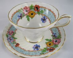 Aynsley Blue Floral Rim cup and saucer.  Made in England.