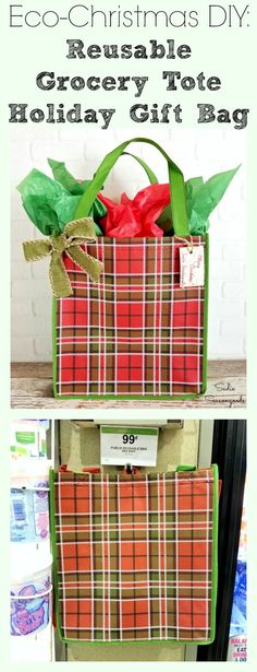 """Give a gift within a gift this Christmas, by repurposing a reusable grocery tote bag into a festive holiday gift bag!! Cheaper than paper bags, you can use these year round to cut down on plastic bags at the grocery store. And they can easily hold a larger gift that may be harder to wrap. Fantastic """"green"""" upcycling gift wrap idea from Sadie Seasongoods / www.sadieseasongoods.com"""