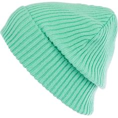 River Island Aqua ribbed knit beanie hat ($12) ❤ liked on Polyvore