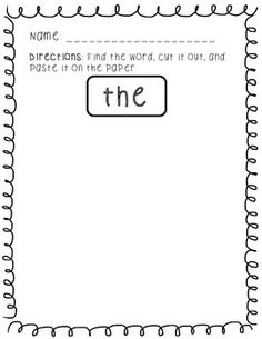 Sight Word Hunt (25 High-Frequency Words); K, First Grade
