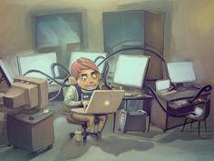 The Day Programmer vs. The Night Programmer Hacker Wallpaper, Full Hd Wallpaper, Programming Humor, Seven Habits, Splash Page, Show Video, Nerd Geek, Hd Backgrounds, Asana