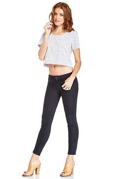 Ankle Zipper Skinny Jeans in Navy 26 - 30 | DAILYLOOK