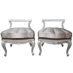 "Pair of Lacquered Satin Pewter Petite Bergere Chair Stools in Holly Hunt ""Venetian-Glass"" tufted pewter satin and mohair"