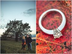 Fall engagement photos with the ring on a leaf in Cades Cove in the Great Smoky Mtns National Park. Fall engagement photos with leaves in Knoxville TN. Click to view more pictures! Knoxville wedding photographer, fall engagement pictures, Tennessee photographer