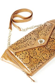 cognac cutout bag